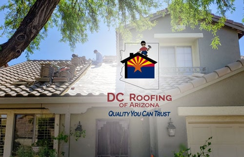 DC Roofing repairing a tile roof on Tucson home